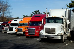 Truck trailers on rest area along american Interstate 95