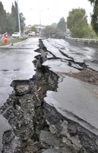 Christchurch, New Zealand - March 20 2011: Fitzgerald Avenue Bridge Destruction.